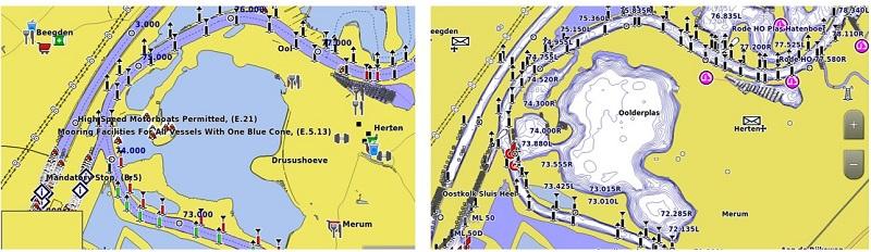 Bluechart G3 Seekarte Tiefenbereichsschattierungen
