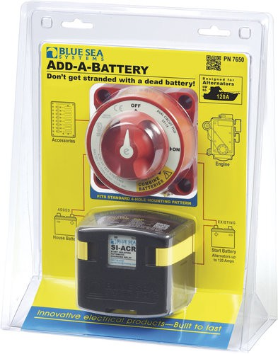 Blue Sea BS 7650 Batterieladerelais mit Batterieschalter / Add-A-Battery Kit - 120A