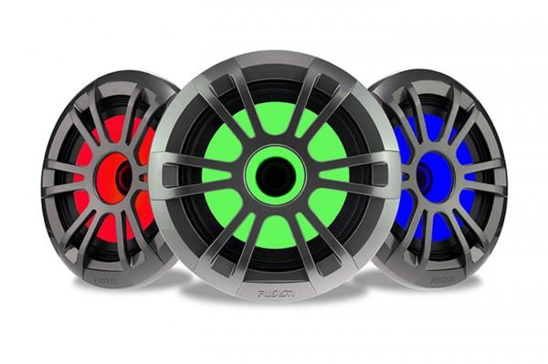 Lautsprecher grau metallic mit RGB-LED Beleuchtung